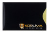 Vertical card protector (black with gold logo)