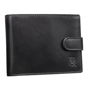 Mens RFID Blocking Coin Wallet With Snap Closure (Black)
