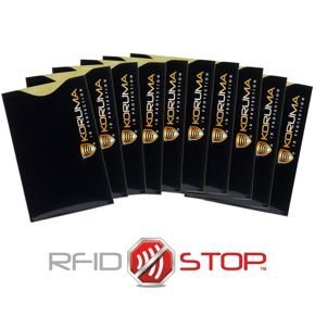 Vertical RFID blocking sleeve (black with gold logo) - 10 pack