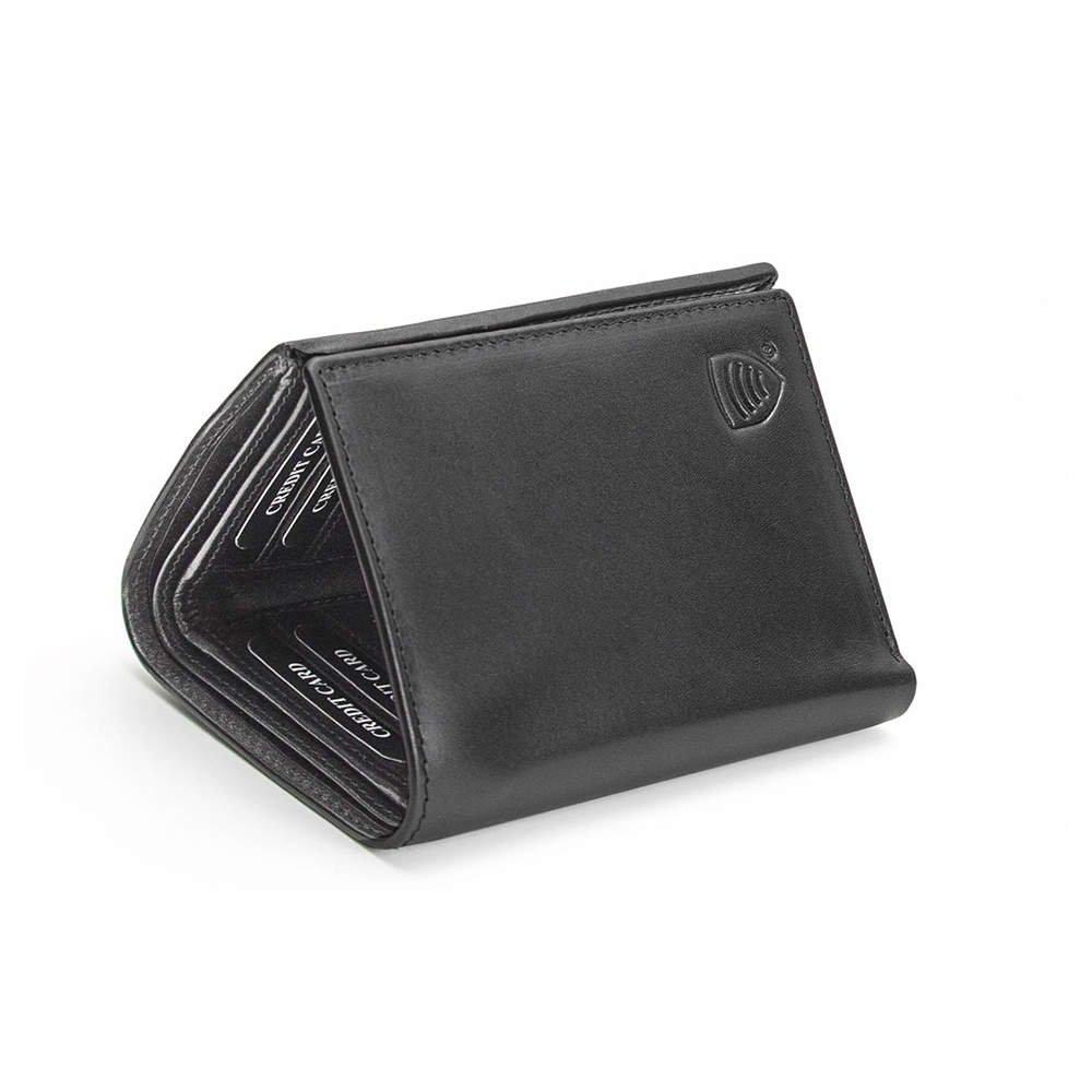 Rfid Blocking Leather Trifold Wallet Black Koruma Id