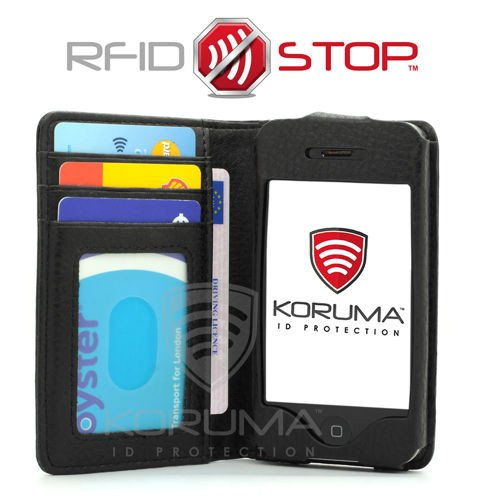 09fcb9c35254 RFID and NFC blocking wallet for mobile phone iPhone 4S