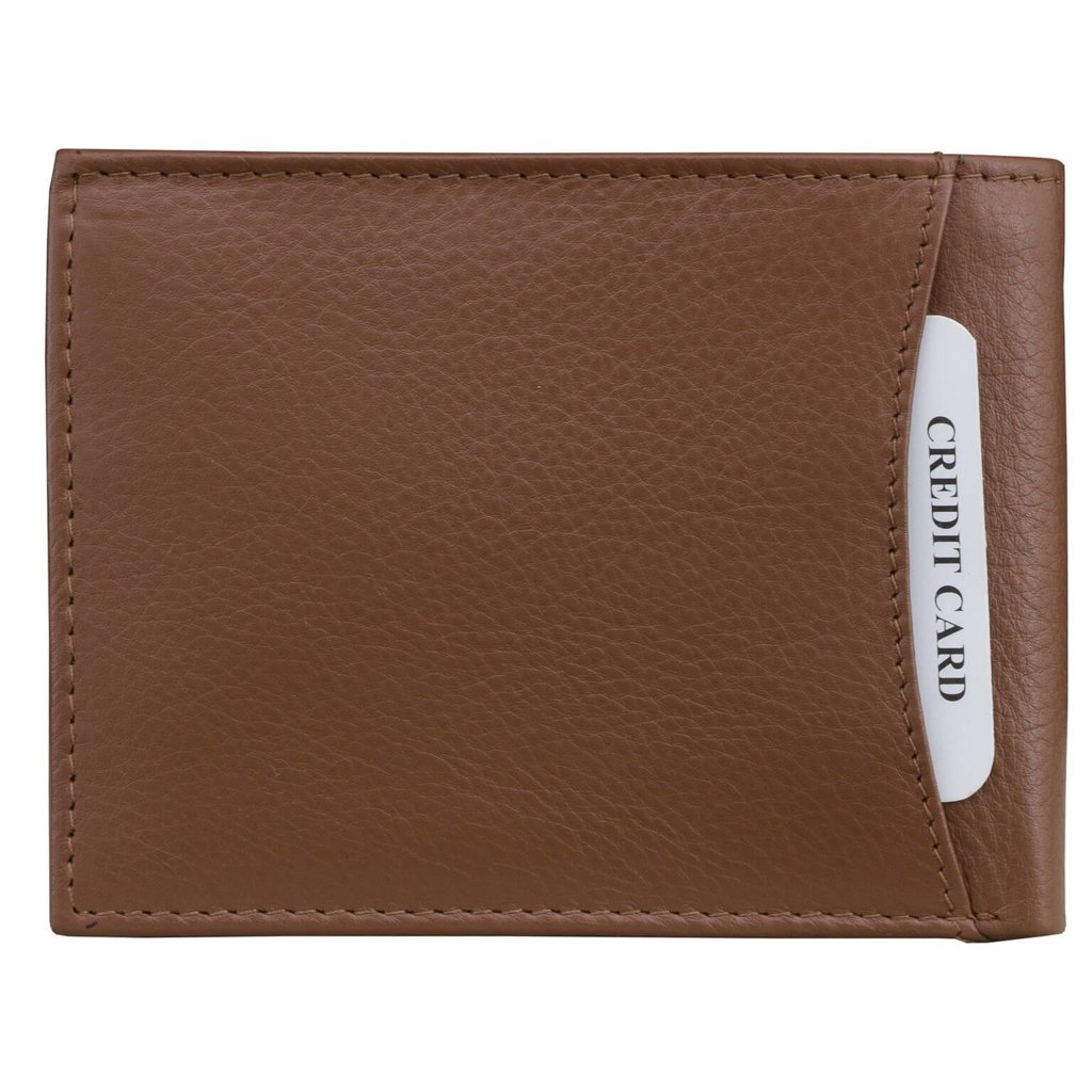 Small rfid blocking billfold wallet with id window tan for 2 id window wallet