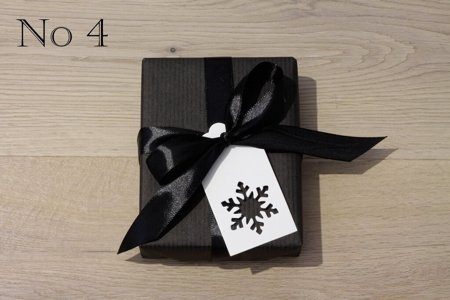 Black Kraft Paper, Black Satin Ribbon and White Gift Tag with Snowflake