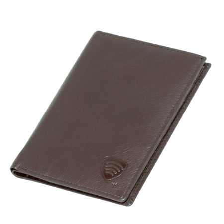 Genuine leather RFID travel wallet (brown)
