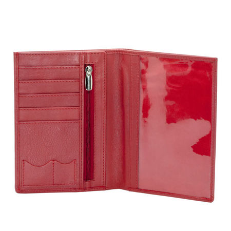Genuine leather RFID travel wallet (red)