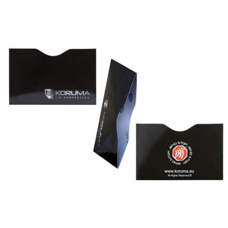 Horizontal RFID blocking sleeve (black with silver logo)