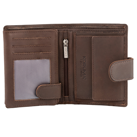 Leather Men's RFID Coin Wallet With Tab Closure (Brown)