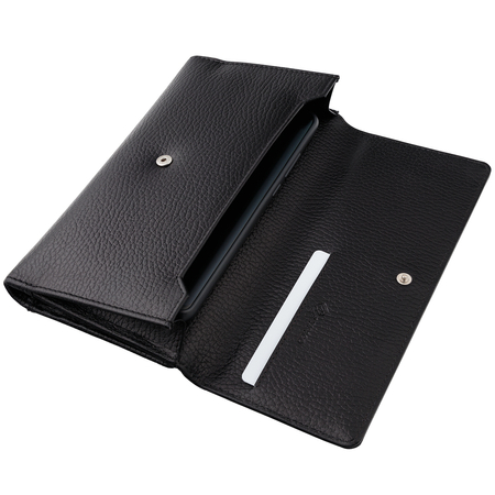 Leather RFID Blocking Ladies Purse for Cards and Mobile (Black)