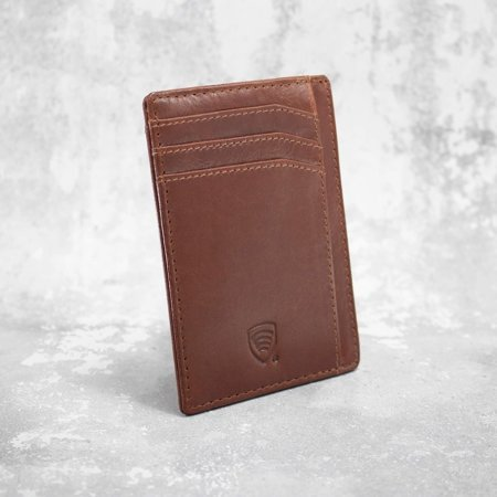 RFID Blocking Leather Credit Card Holder (Brown)