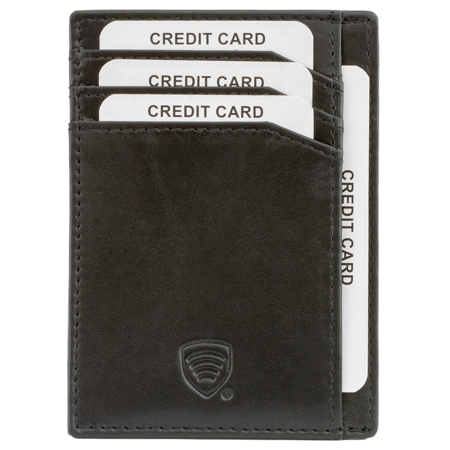 RFID Blocking Exclusive Hand Made Genuine Leather Card Holder (Black)