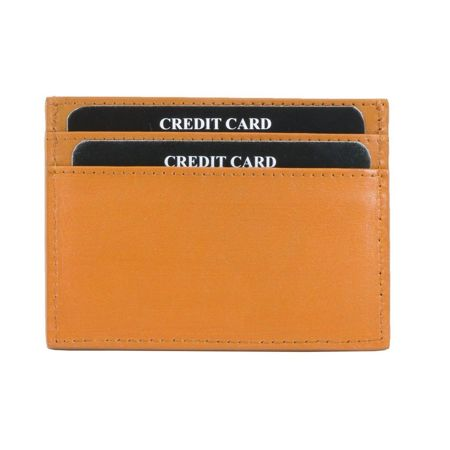 RFID Blocking Exclusive Handmade Genuine Leather Credit Card Holder (Orange)