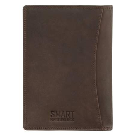 RFID Blocking Genuine Leather Passport Holder (Brown)