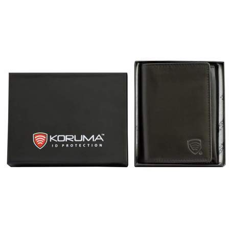 RFID Blocking Leather Trifold wallet (Black)