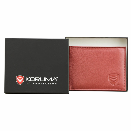 RFID blocking billfold wallet with ID window (Red)