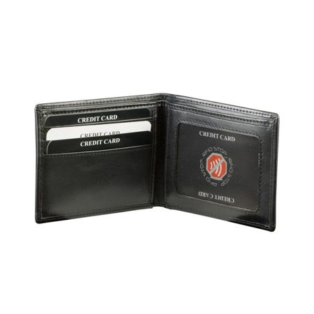 RFID blocking billfold wallet with ID window (Shiny Black)