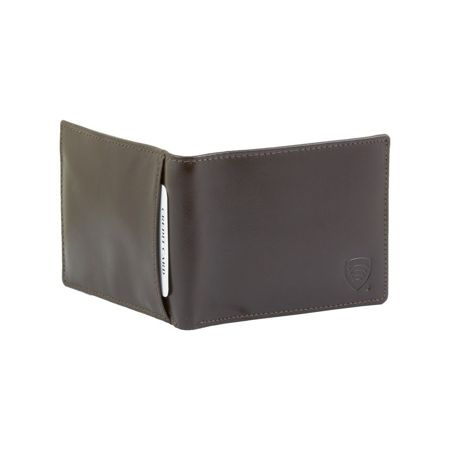 RFID blocking billfold wallet with ID window (Shiny Brown)