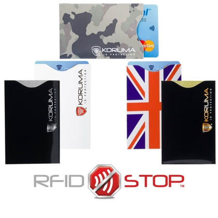 RFID blocking contactless card protectors (vertical) 5 pack mix