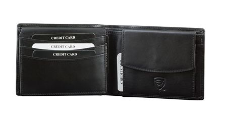 RFID blocking leather wallet with ID window