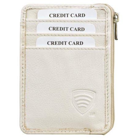 RFID blocking small zipper wallet (Cream)