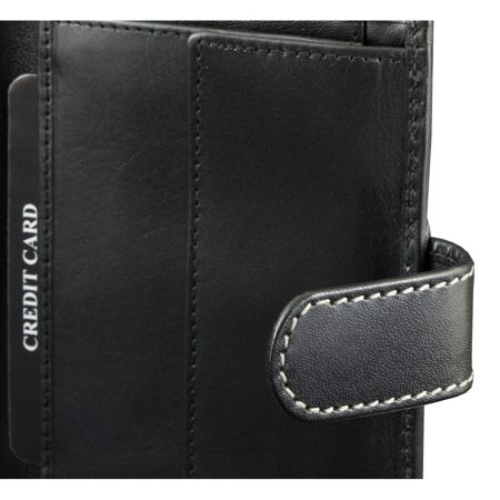 RFID blocking wallet - vertical (shiny black with grey thread)