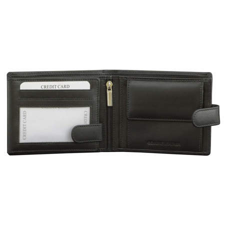 SMART RFID BLOCK Men's Coin Wallet With Tab Closure (Black)