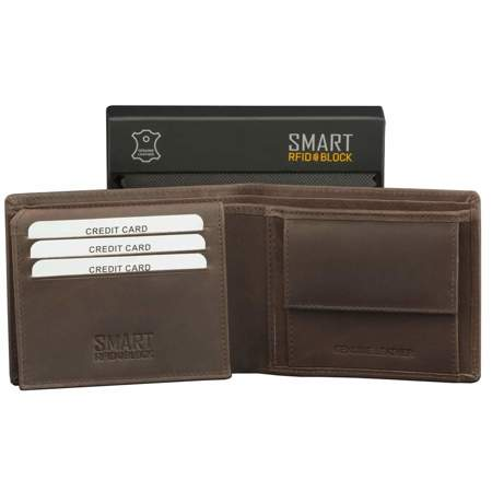 SMART RFID BLOCK Slim Coin Wallet (Brown)