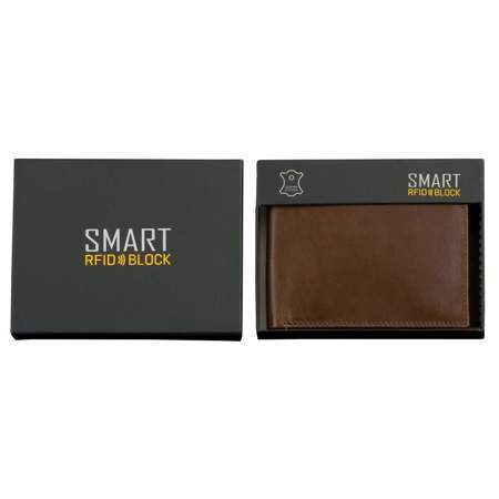 SMART RFID BLOCK Slim Coin Wallet (Shiny Brown)
