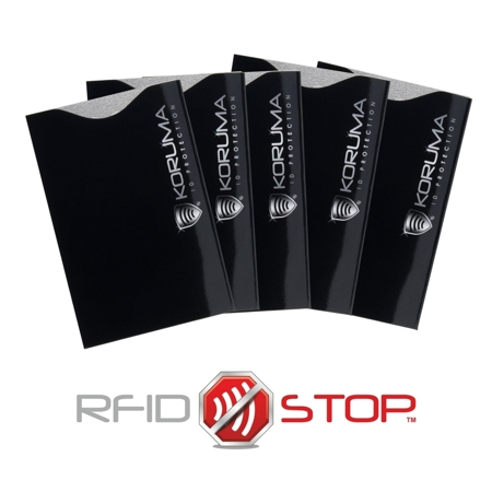 Vertical RFID blocking credit card sleeves (black with silver logo) 5 pack