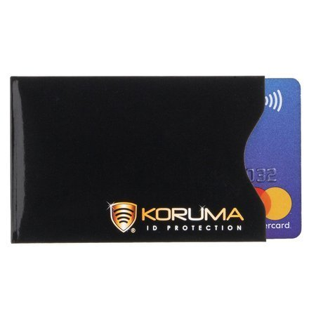 Vertical RFID blocking sleeve (black with gold logo)