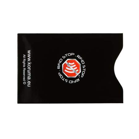 Vertical RFID blocking sleeve (black with silver logo)